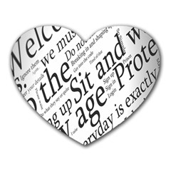 Abstract Minimalistic Text Typography Grayscale Focused Into Newspaper Heart Mousepads by Simbadda