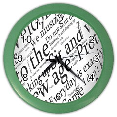 Abstract Minimalistic Text Typography Grayscale Focused Into Newspaper Color Wall Clocks by Simbadda