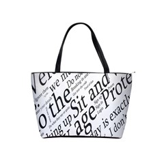 Abstract Minimalistic Text Typography Grayscale Focused Into Newspaper Shoulder Handbags by Simbadda