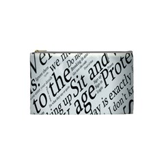 Abstract Minimalistic Text Typography Grayscale Focused Into Newspaper Cosmetic Bag (small)  by Simbadda