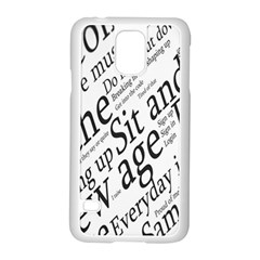 Abstract Minimalistic Text Typography Grayscale Focused Into Newspaper Samsung Galaxy S5 Case (white) by Simbadda