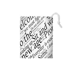 Abstract Minimalistic Text Typography Grayscale Focused Into Newspaper Drawstring Pouches (Small)