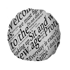 Abstract Minimalistic Text Typography Grayscale Focused Into Newspaper Standard 15  Premium Flano Round Cushions by Simbadda