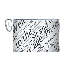 Abstract Minimalistic Text Typography Grayscale Focused Into Newspaper Canvas Cosmetic Bag (m)