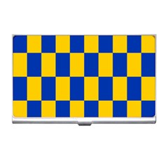 Flag Plaid Blue Yellow Business Card Holders by Alisyart