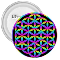 Flower Of Life Gradient Fill Black Circle Plain 3  Buttons by Simbadda