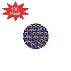 Flower Of Life Gradient Fill Black Circle Plain 1  Mini Buttons (100 Pack)  by Simbadda