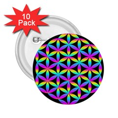 Flower Of Life Gradient Fill Black Circle Plain 2 25  Buttons (10 Pack)  by Simbadda