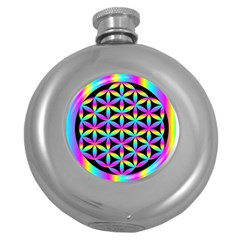 Flower Of Life Gradient Fill Black Circle Plain Round Hip Flask (5 Oz) by Simbadda
