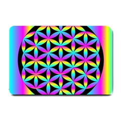 Flower Of Life Gradient Fill Black Circle Plain Small Doormat  by Simbadda