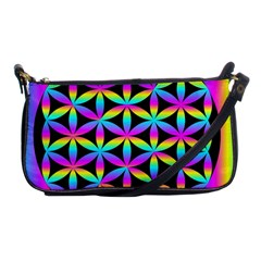 Flower Of Life Gradient Fill Black Circle Plain Shoulder Clutch Bags by Simbadda