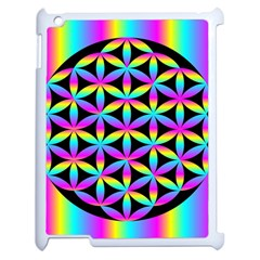 Flower Of Life Gradient Fill Black Circle Plain Apple Ipad 2 Case (white) by Simbadda