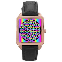 Flower Of Life Gradient Fill Black Circle Plain Rose Gold Leather Watch  by Simbadda