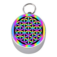 Flower Of Life Gradient Fill Black Circle Plain Mini Silver Compasses by Simbadda