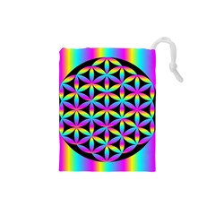 Flower Of Life Gradient Fill Black Circle Plain Drawstring Pouches (small)  by Simbadda