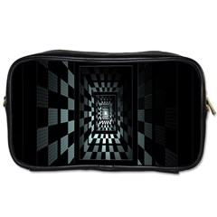 Optical Illusion Square Abstract Geometry Toiletries Bags 2 Side by Simbadda