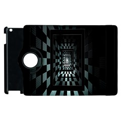 Optical Illusion Square Abstract Geometry Apple Ipad 2 Flip 360 Case by Simbadda