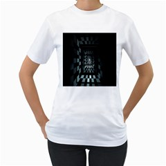 Optical Illusion Square Abstract Geometry Women s T-Shirt (White)