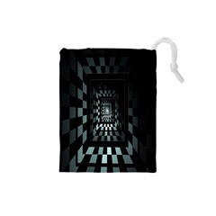 Optical Illusion Square Abstract Geometry Drawstring Pouches (small)  by Simbadda