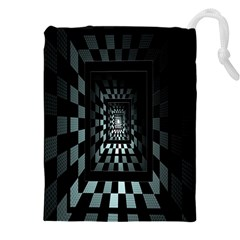 Optical Illusion Square Abstract Geometry Drawstring Pouches (xxl) by Simbadda