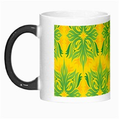 Floral Flower Star Sunflower Green Yellow Morph Mugs by Alisyart