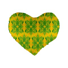 Floral Flower Star Sunflower Green Yellow Standard 16  Premium Heart Shape Cushions by Alisyart