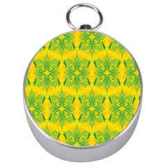 Floral Flower Star Sunflower Green Yellow Silver Compasses by Alisyart