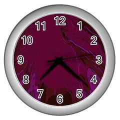Abstract Purple Pattern Wall Clocks (silver)  by Simbadda
