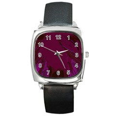 Abstract Purple Pattern Square Metal Watch by Simbadda