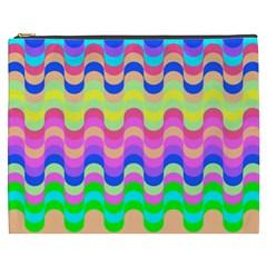 Dna Early Childhood Wave Chevron Woves Rainbow Cosmetic Bag (xxxl)  by Alisyart