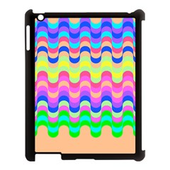 Dna Early Childhood Wave Chevron Woves Rainbow Apple Ipad 3/4 Case (black) by Alisyart