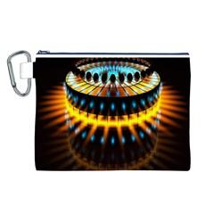 Abstract Led Lights Canvas Cosmetic Bag (l) by Simbadda