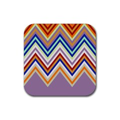 Chevron Wave Color Rainbow Triangle Waves Grey Rubber Square Coaster (4 Pack)  by Alisyart