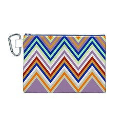 Chevron Wave Color Rainbow Triangle Waves Grey Canvas Cosmetic Bag (m) by Alisyart