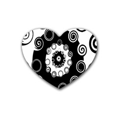 Fluctuation Hole Black White Circle Heart Coaster (4 Pack)  by Alisyart
