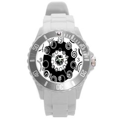 Fluctuation Hole Black White Circle Round Plastic Sport Watch (l) by Alisyart