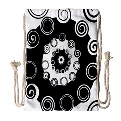 Fluctuation Hole Black White Circle Drawstring Bag (large) by Alisyart
