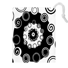 Fluctuation Hole Black White Circle Drawstring Pouches (xxl) by Alisyart