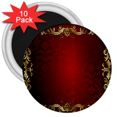 3d Red Abstract Pattern 3  Magnets (10 Pack)  by Simbadda