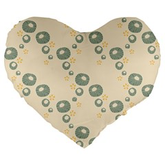 Flower Floral Pink Large 19  Premium Flano Heart Shape Cushions by Alisyart