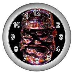 Hamburgers Digital Art Colorful Wall Clocks (silver)  by Simbadda