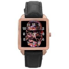 Hamburgers Digital Art Colorful Rose Gold Leather Watch