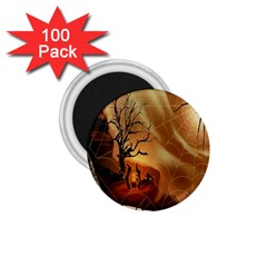 Digital Art Nature Spider Witch Spiderwebs Bricks Window Trees Fire Boiler Cliff Rock 1 75  Magnets (100 Pack)  by Simbadda