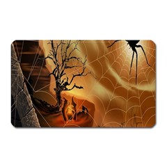 Digital Art Nature Spider Witch Spiderwebs Bricks Window Trees Fire Boiler Cliff Rock Magnet (rectangular) by Simbadda