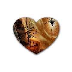 Digital Art Nature Spider Witch Spiderwebs Bricks Window Trees Fire Boiler Cliff Rock Rubber Coaster (heart)  by Simbadda