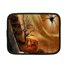 Digital Art Nature Spider Witch Spiderwebs Bricks Window Trees Fire Boiler Cliff Rock Netbook Case (small)  by Simbadda