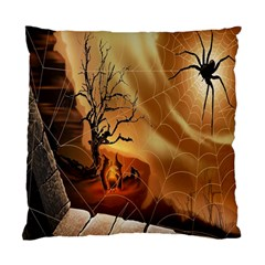 Digital Art Nature Spider Witch Spiderwebs Bricks Window Trees Fire Boiler Cliff Rock Standard Cushion Case (two Sides) by Simbadda