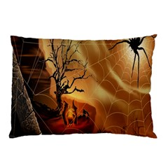 Digital Art Nature Spider Witch Spiderwebs Bricks Window Trees Fire Boiler Cliff Rock Pillow Case (two Sides) by Simbadda