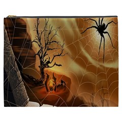 Digital Art Nature Spider Witch Spiderwebs Bricks Window Trees Fire Boiler Cliff Rock Cosmetic Bag (xxxl)  by Simbadda