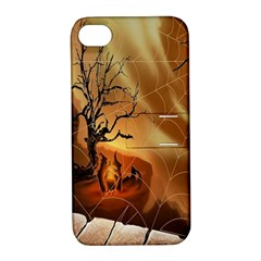Digital Art Nature Spider Witch Spiderwebs Bricks Window Trees Fire Boiler Cliff Rock Apple Iphone 4/4s Hardshell Case With Stand by Simbadda